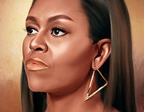 Michele Obama Digital Oil Painting by Wayne Flint