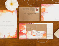 Watercolor + Letterpress Santa Barbara Wedding Suite