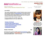 E-newsletter for members of AsiaFriendFinder.com