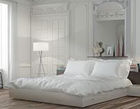 Interior classic bedroom realistic render
