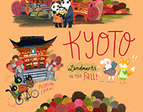 Kyoto, Japan: Landmarks in the Fall Illustrated Poster