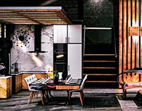Interior Design Concept - Marble Wood