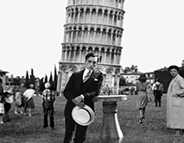 The inclination | Buster Keaton in Pisa (collage)