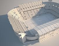 Low poly Mestalla football stadium