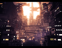 Cyberpunk city - Voxelart animated scene