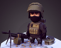 Low poly  military miniature.