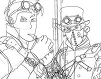 STEAMPUNK SHERLOCK & ZOMBIE TWD - Vector Illustration