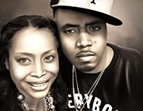 Nas & Erykah Digital Art by Wayne Flint