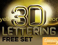 Free Neon 3D Lettering Set