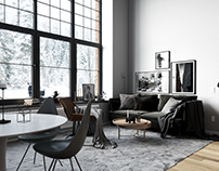 Living and dining room for the apartment