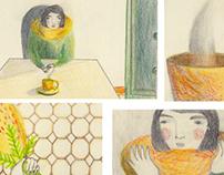 Abril - colour pencil - six penny