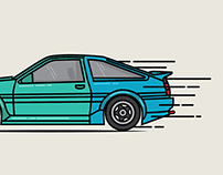 Nostalgic Japanese car illustrations