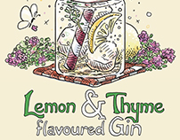 Lemon & Thyme Gin Label Design & Illustration