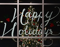 Happy Holidays Window Lettering