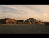 Photographic Panoramic Pyramids in Mexico.