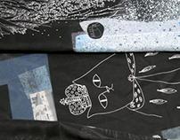 """Печать на ткани. Коллекция шейных платков """"Космос"""""""
