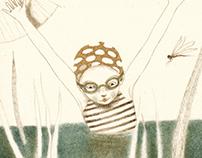 Bagno estivo Illustrazione 201 pastelli secchi/grafite