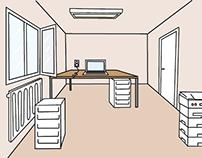 Office illustration Västerbottens läns landsting