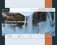 Landing page for a tour website in Iceland