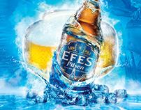 Poster design for Efes Pilsen's new thermometer bottles