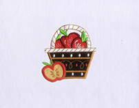 BASKETFUL OF JUICY RED APPLES EMBROIDERY DESIGN