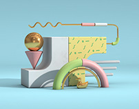 3D Abstract Composition: Colorful Pastel World