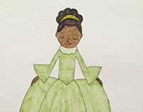 Tiana pen and ink drawing