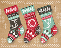 Christmas Stockings. Greeting card design.
