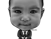 Baby Caricature Tattoo Template