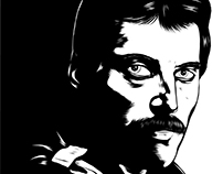 Freddie Mercury- B&W Illustration