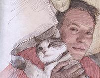 Husband and cat.