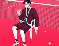 Levi in Tennis field