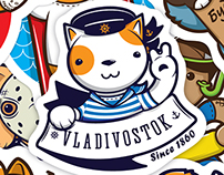 Vladivostok cats stickers set