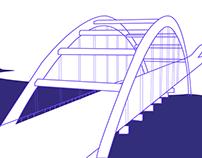 Pennybacker Bridge Line Art