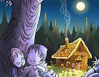 Hansel and Gretel fairy tale illustration for children