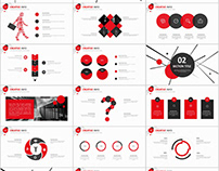 red black business report PowerPoint templates download