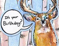 Card (Trifold): Surprised Deer