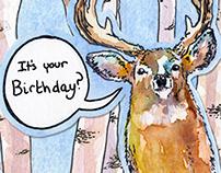 Card (Trifold): Surprised Deer
