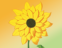 Sunflower Painting with Photoshop