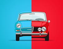 Retro euro cars Illustrations