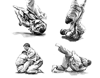 B&W Jiu-Jitsu illustrations