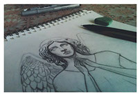 Angel Tattoo Sketch in progress