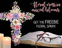Watercolor floral cross in mixed blooms