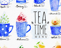 Watercolor Tea Menu