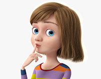 3D Cartoon Girl Rigged model