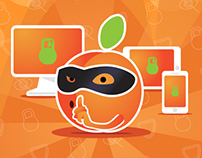 Peach VPN - Secure service web site, logo, illustration