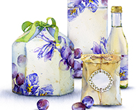 Gift packaging with plums and flowers.