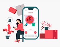 Flat illustration With online shop