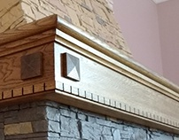 wooden shelf on fireplace