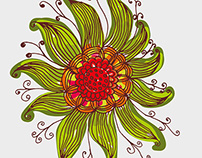 Zentangle Flower graphic design vector art